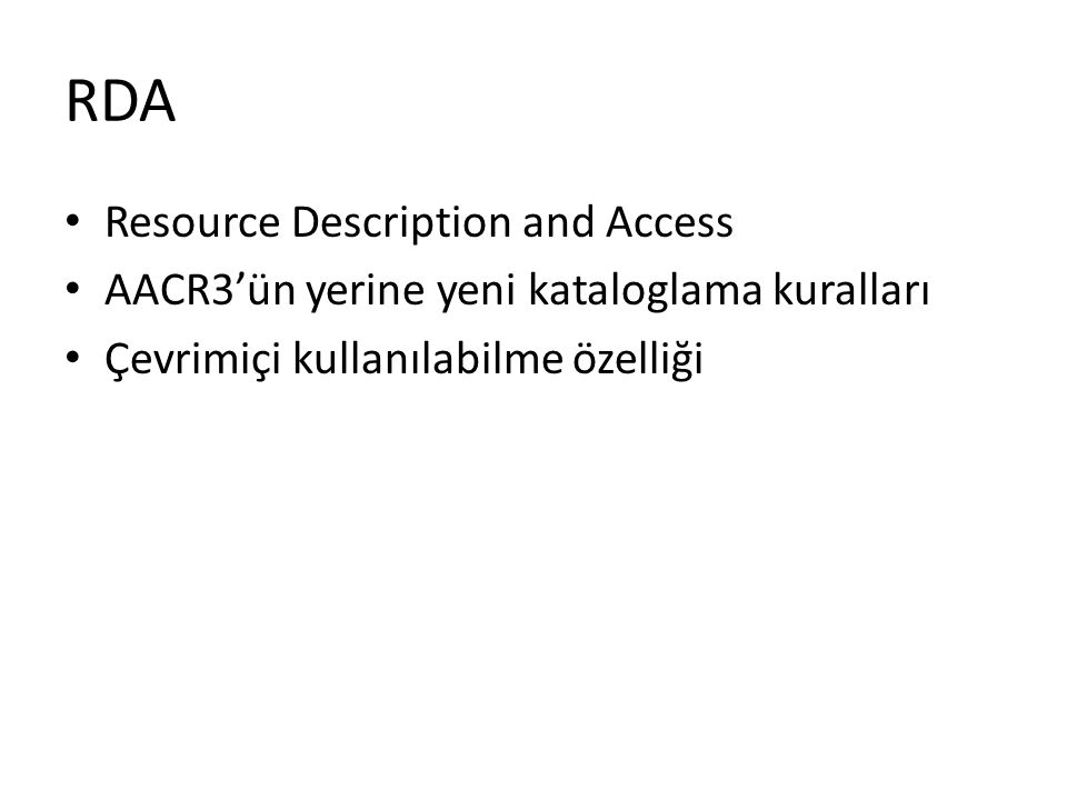 RDA Resource Description and Access