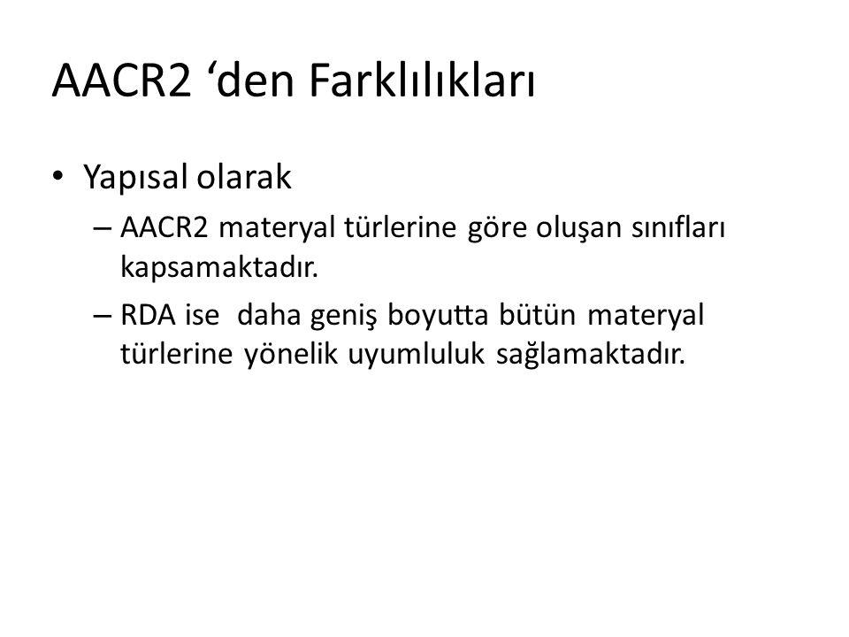AACR2 'den Farklılıkları