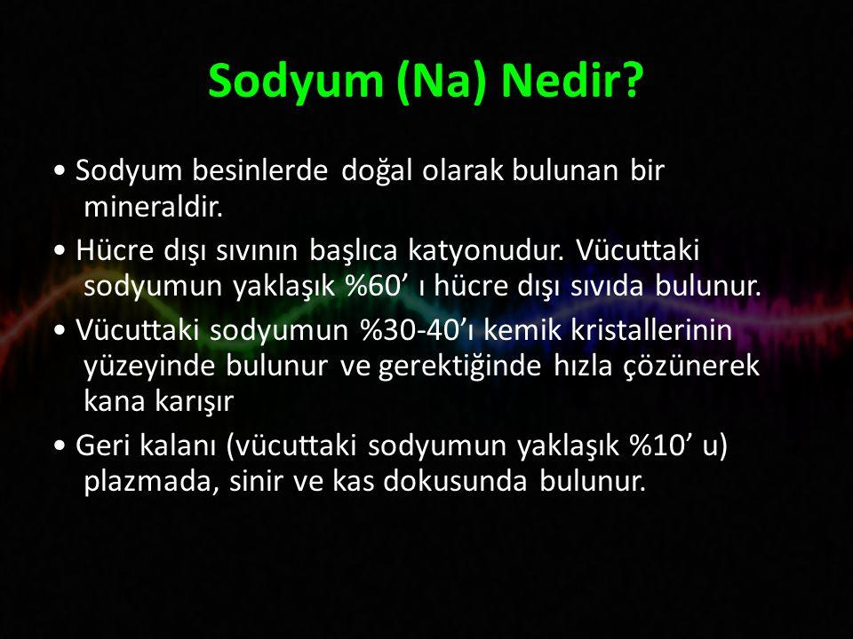 Sodyum (Na) Nedir • Sodyum besinlerde doğal olarak bulunan bir mineraldir.