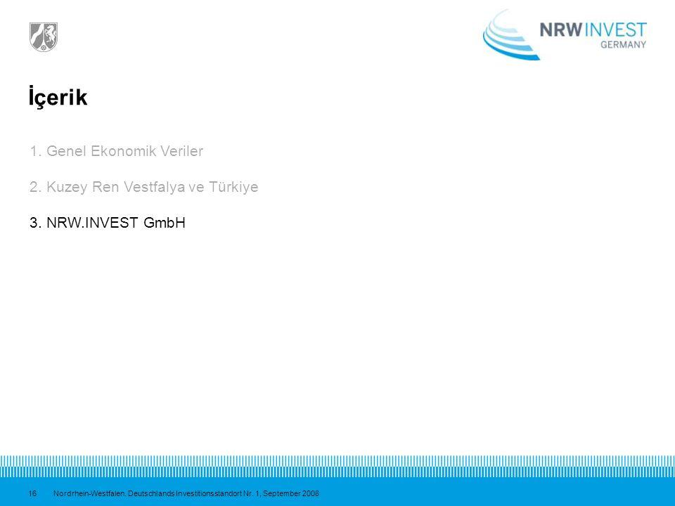 İçerik 1. Genel Ekonomik Veriler 2. Kuzey Ren Vestfalya ve Türkiye