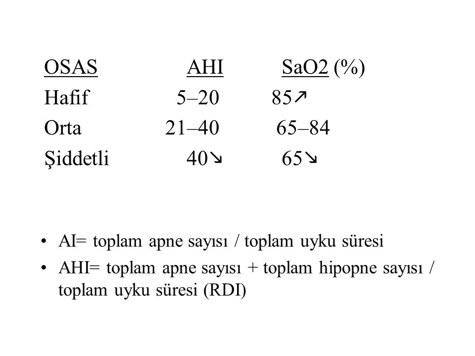 OSAS AHI SaO2 (%) Hafif 5–20 85k Orta 21–40 65–84 Şiddetli 40m 65m