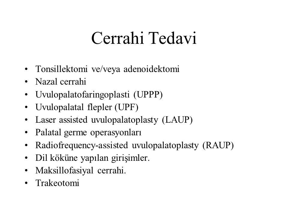 Cerrahi Tedavi Tonsillektomi ve/veya adenoidektomi Nazal cerrahi