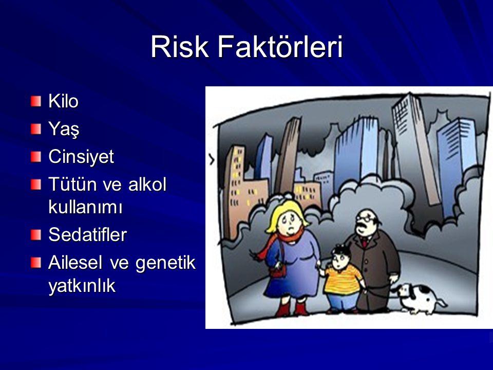 Risk Faktörleri Kilo Yaş Cinsiyet Tütün ve alkol kullanımı Sedatifler