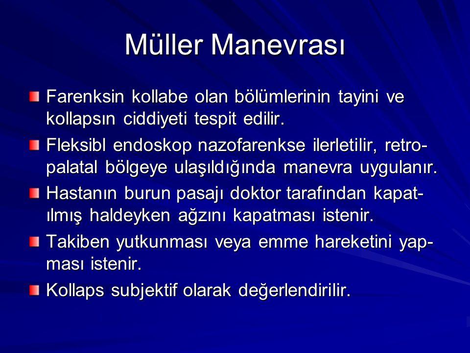Müller Manevrası Farenksin kollabe olan bölümlerinin tayini ve kollapsın ciddiyeti tespit edilir.