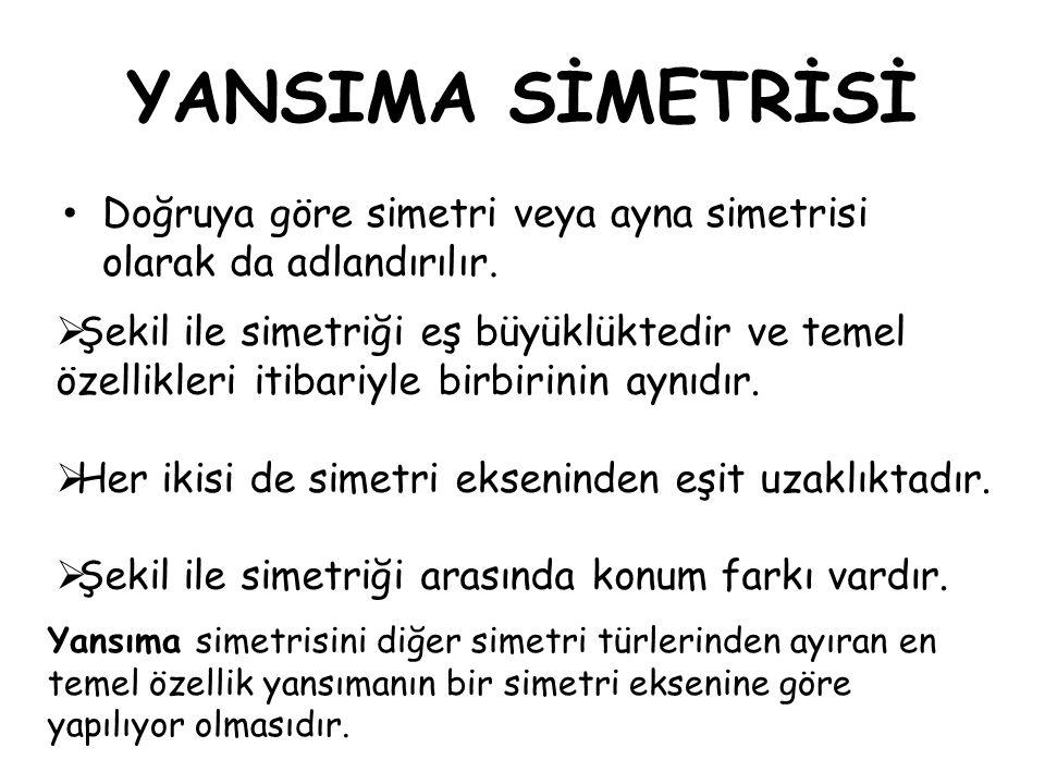 YANSIMA SİMETRİSİ Doğruya göre simetri veya ayna simetrisi olarak da adlandırılır.