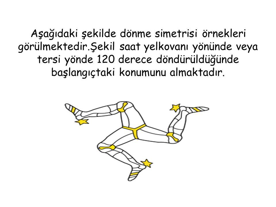 Aşağıdaki şekilde dönme simetrisi örnekleri görülmektedir