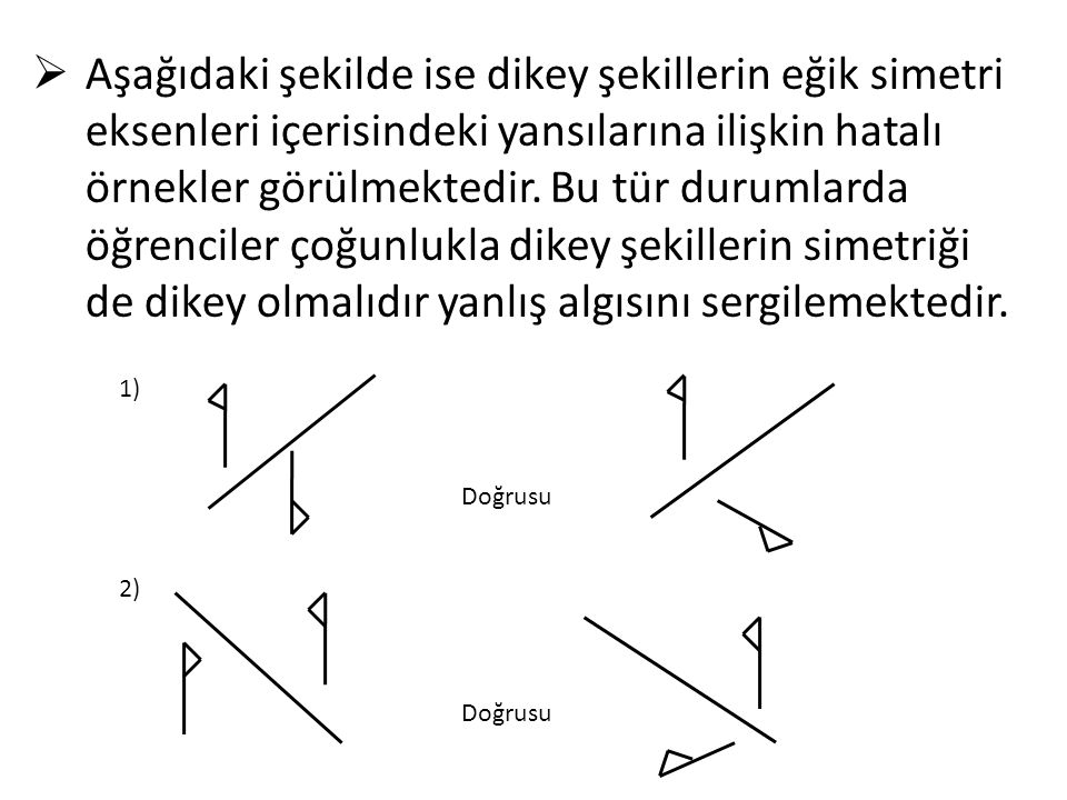 Aşağıdaki şekilde ise dikey şekillerin eğik simetri eksenleri içerisindeki yansılarına ilişkin hatalı örnekler görülmektedir. Bu tür durumlarda öğrenciler çoğunlukla dikey şekillerin simetriği de dikey olmalıdır yanlış algısını sergilemektedir.