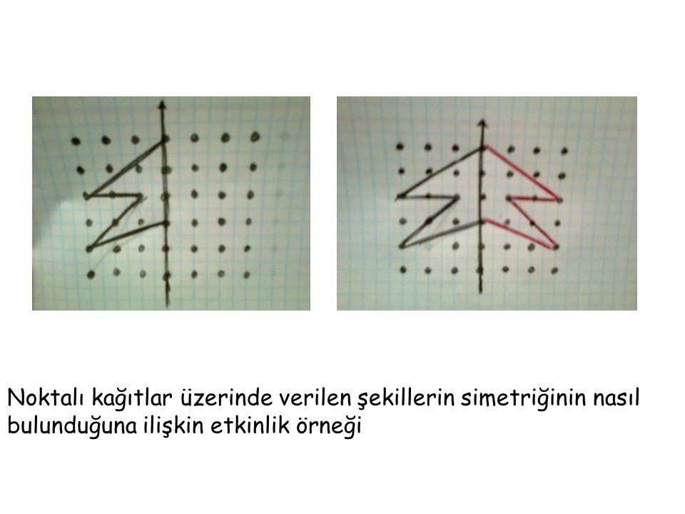 Noktalı kağıtlar üzerinde verilen şekillerin simetriğinin nasıl bulunduğuna ilişkin etkinlik örneği