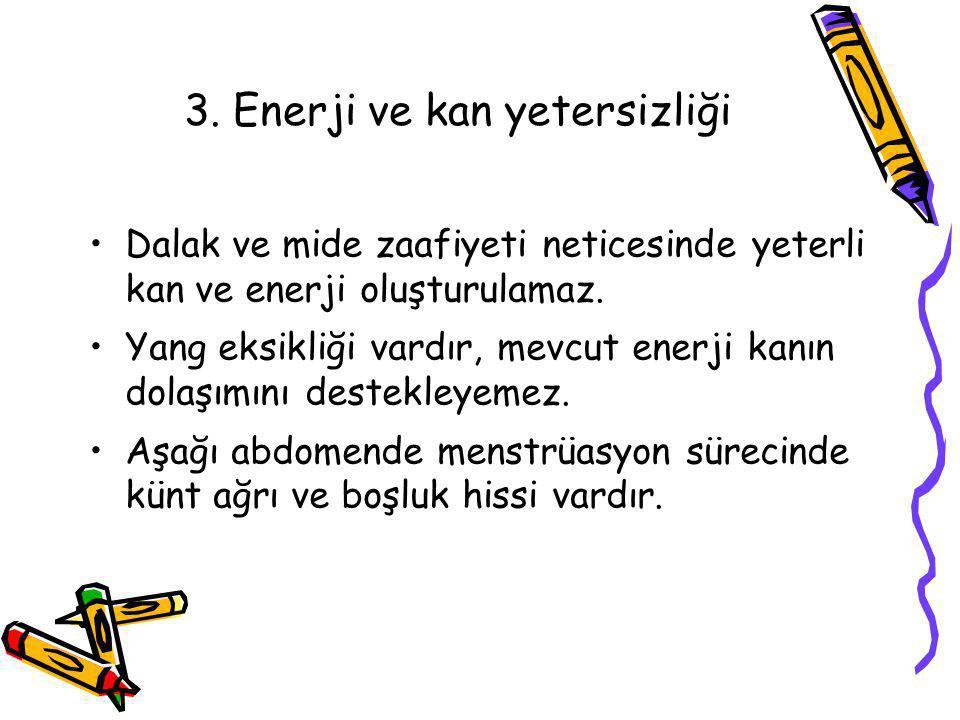 3. Enerji ve kan yetersizliği