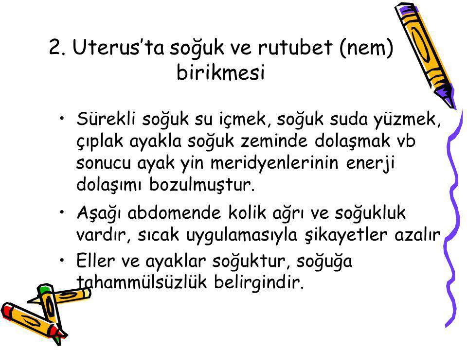 2. Uterus'ta soğuk ve rutubet (nem) birikmesi