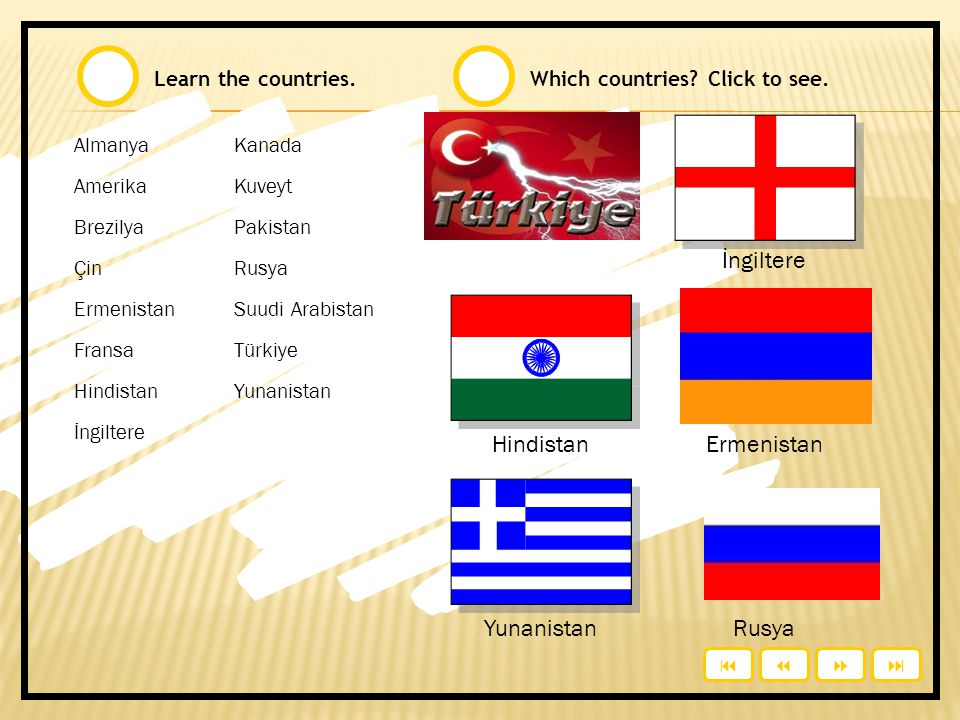 İngiltere Hindistan Ermenistan Yunanistan Rusya Learn the countries.