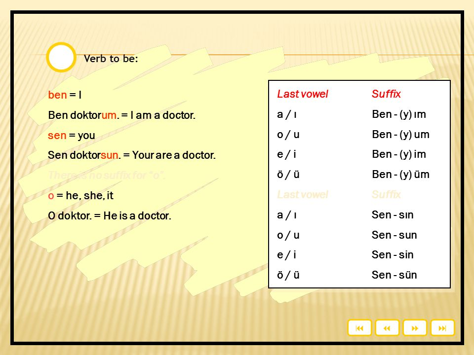 Ben doktorum. = I am a doctor. sen = you