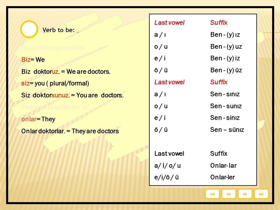 Study the expressions: Biz= We Biz doktoruz. = We are doctors.
