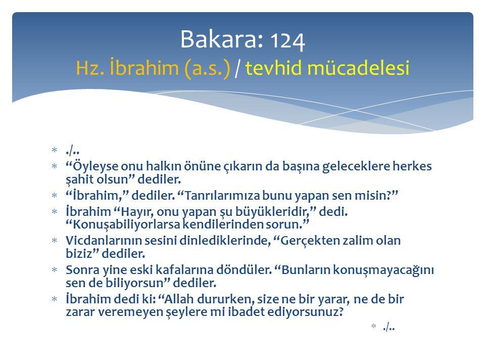 Bakara: 124 Hz. İbrahim (a.s.) / tevhid mücadelesi