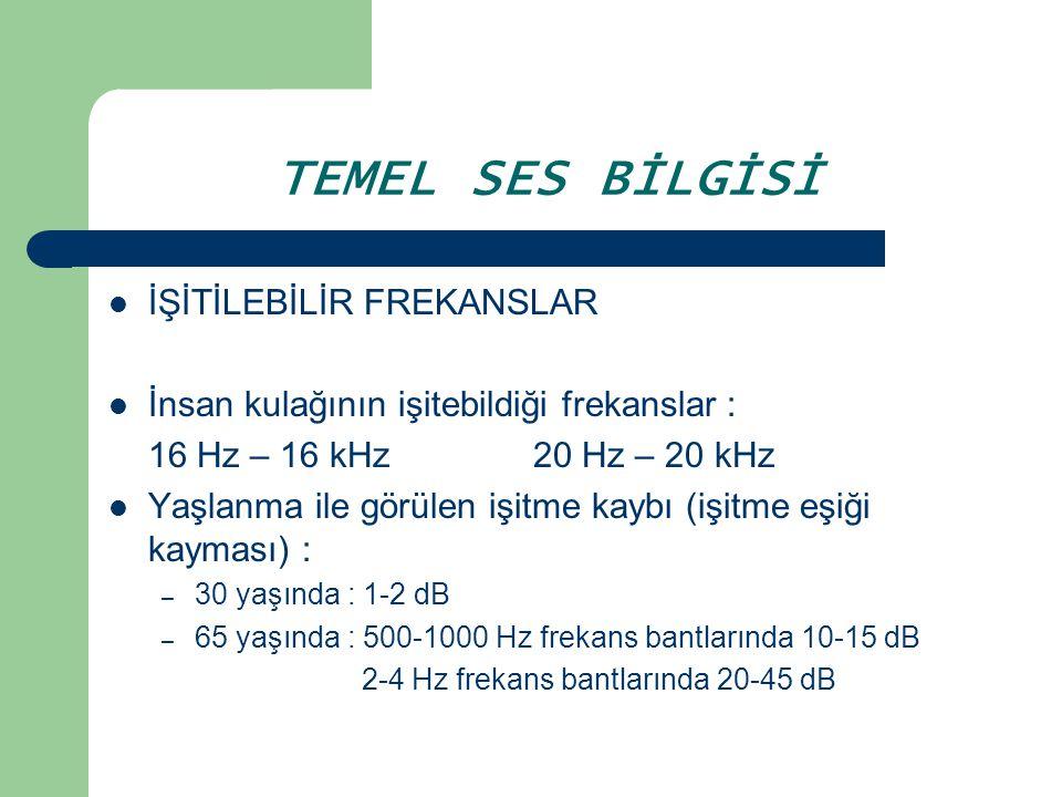 TEMEL SES BİLGİSİ İŞİTİLEBİLİR FREKANSLAR