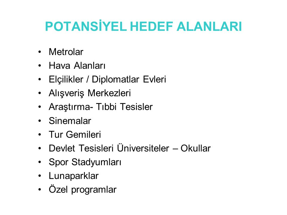 POTANSİYEL HEDEF ALANLARI