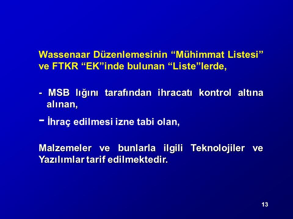 Wassenaar Düzenlemesinin Mühimmat Listesi ve FTKR EK inde bulunan Liste lerde,