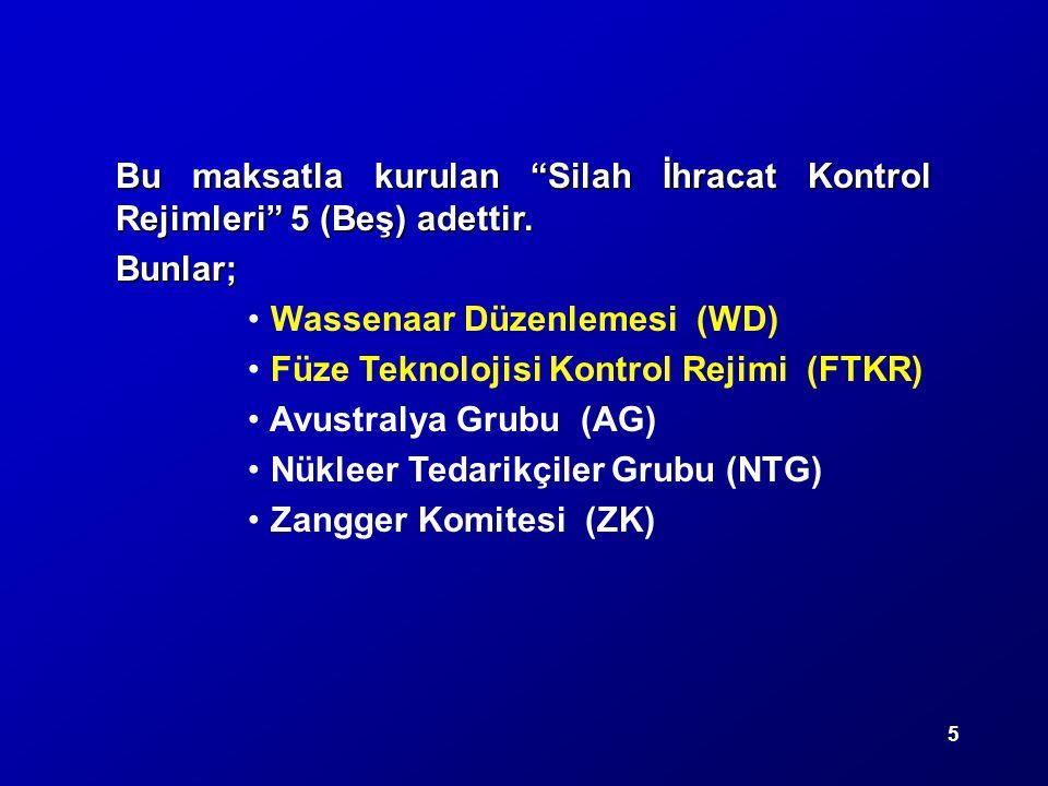 Bu maksatla kurulan Silah İhracat Kontrol Rejimleri 5 (Beş) adettir.