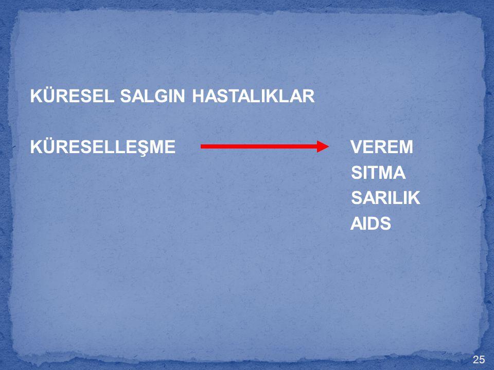 KÜRESEL SALGIN HASTALIKLAR KÜRESELLEŞME VEREM SITMA SARILIK AIDS
