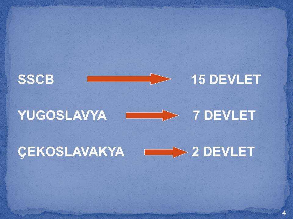 SSCB 15 DEVLET YUGOSLAVYA 7 DEVLET ÇEKOSLAVAKYA 2 DEVLET