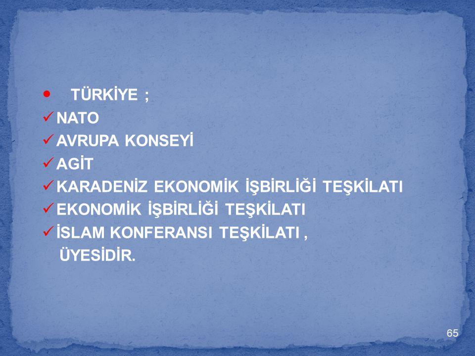 TÜRKİYE ; NATO AVRUPA KONSEYİ AGİT
