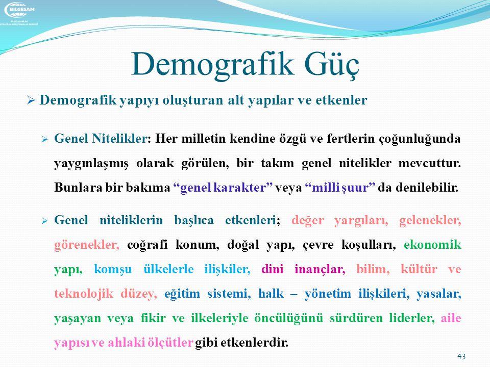 Demografik Güç Demografik yapıyı oluşturan alt yapılar ve etkenler