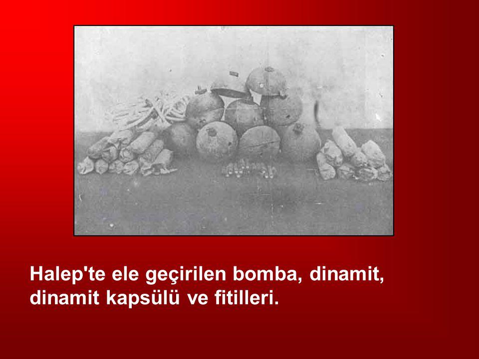 Halep te ele geçirilen bomba, dinamit, dinamit kapsülü ve fitilleri.