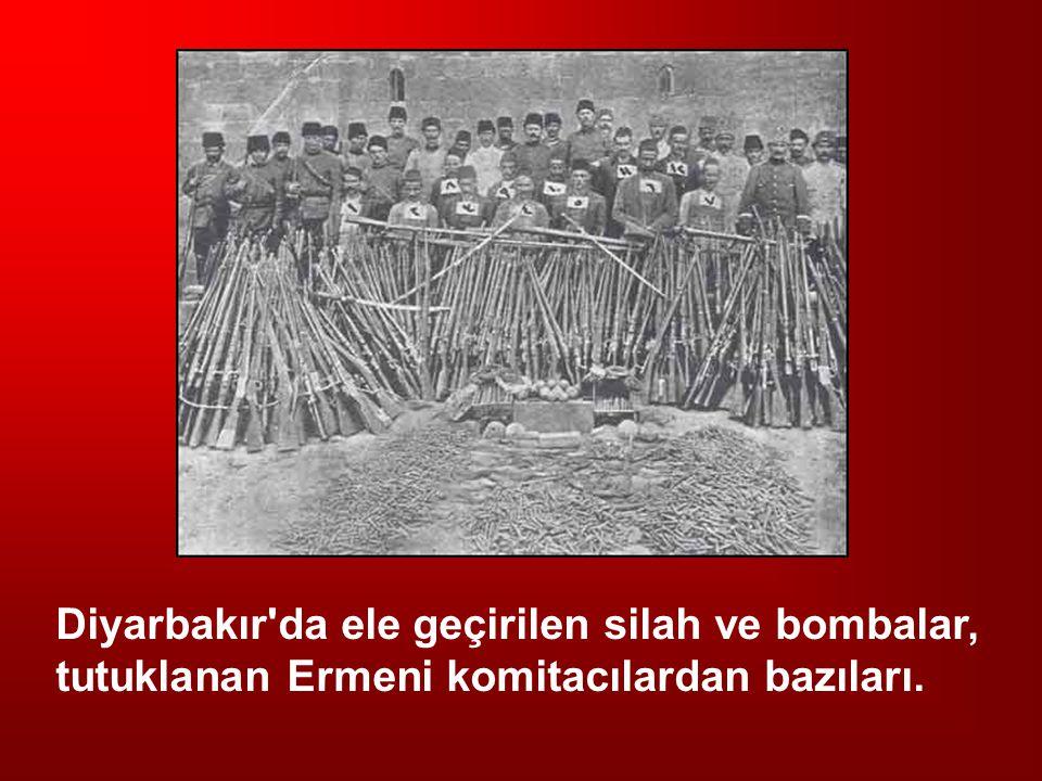 Diyarbakır da ele geçirilen silah ve bombalar, tutuklanan Ermeni komitacılardan bazıları.