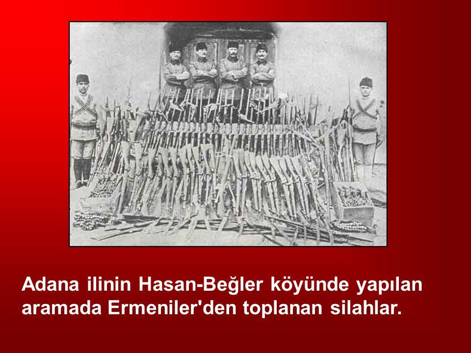 Adana ilinin Hasan-Beğler köyünde yapılan aramada Ermeniler den toplanan silahlar.