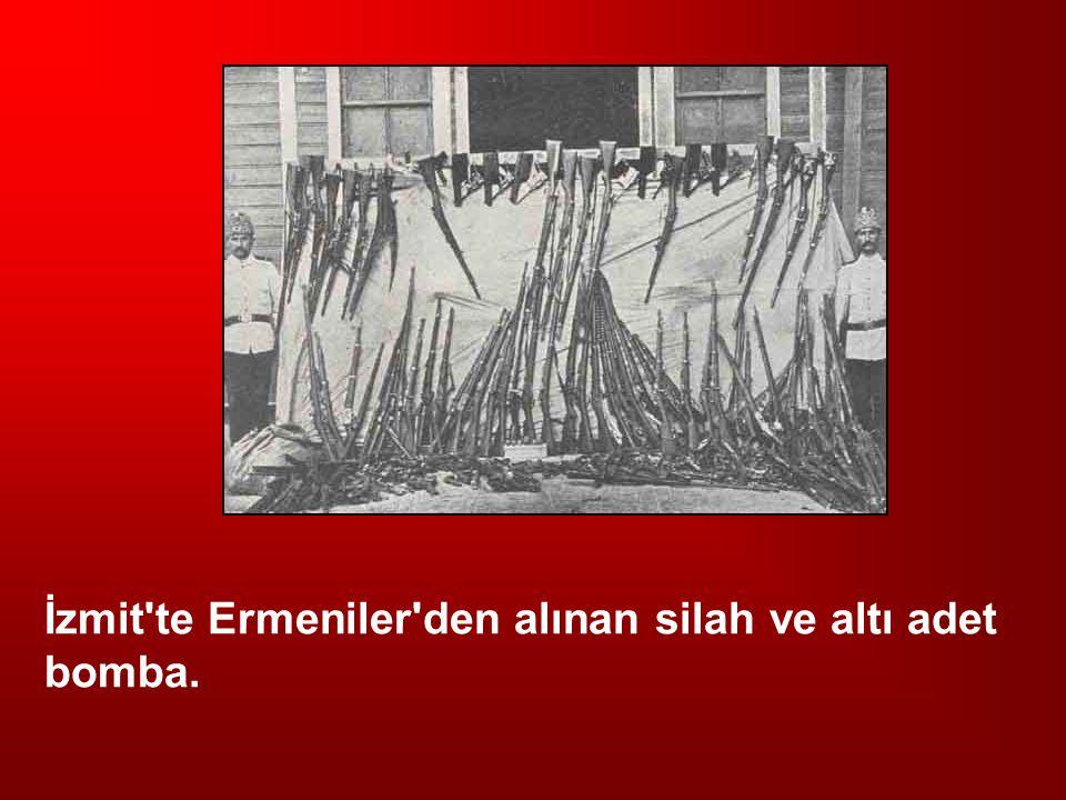İzmit te Ermeniler den alınan silah ve altı adet bomba.