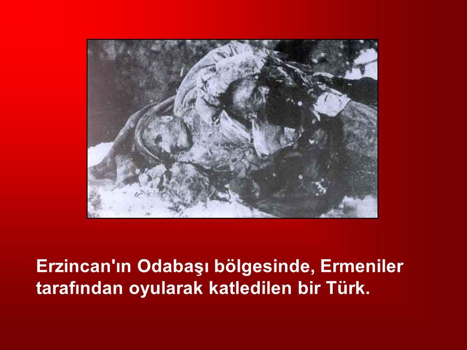 Erzincan ın Odabaşı bölgesinde, Ermeniler tarafından oyularak katledilen bir Türk.