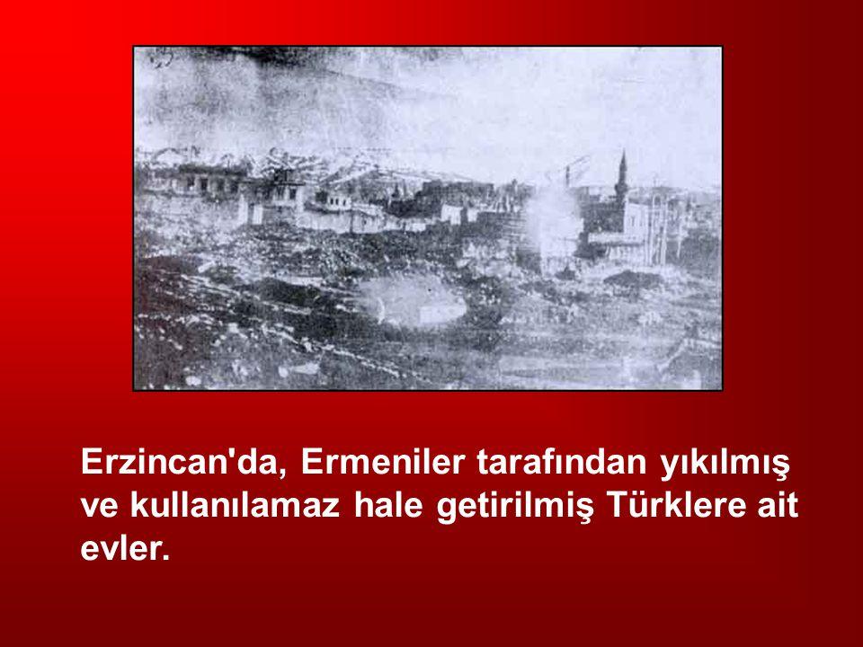 Erzincan da, Ermeniler tarafından yıkılmış ve kullanılamaz hale getirilmiş Türklere ait evler.