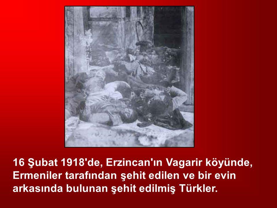 16 Şubat 1918 de, Erzincan ın Vagarir köyünde, Ermeniler tarafından şehit edilen ve bir evin arkasında bulunan şehit edilmiş Türkler.