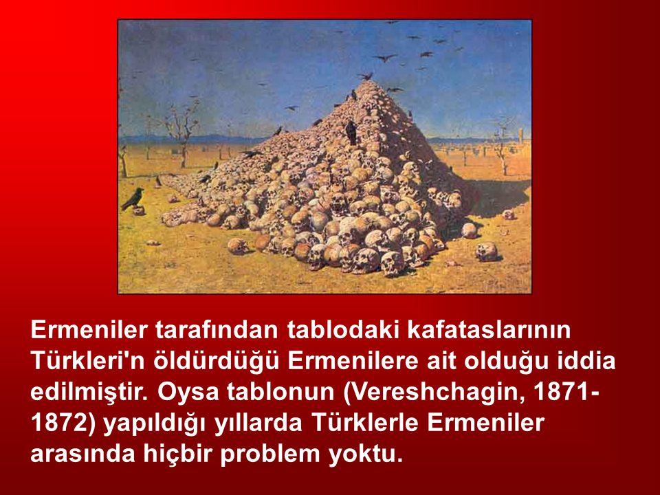 Ermeniler tarafından tablodaki kafataslarının Türkleri n öldürdüğü Ermenilere ait olduğu iddia edilmiştir.