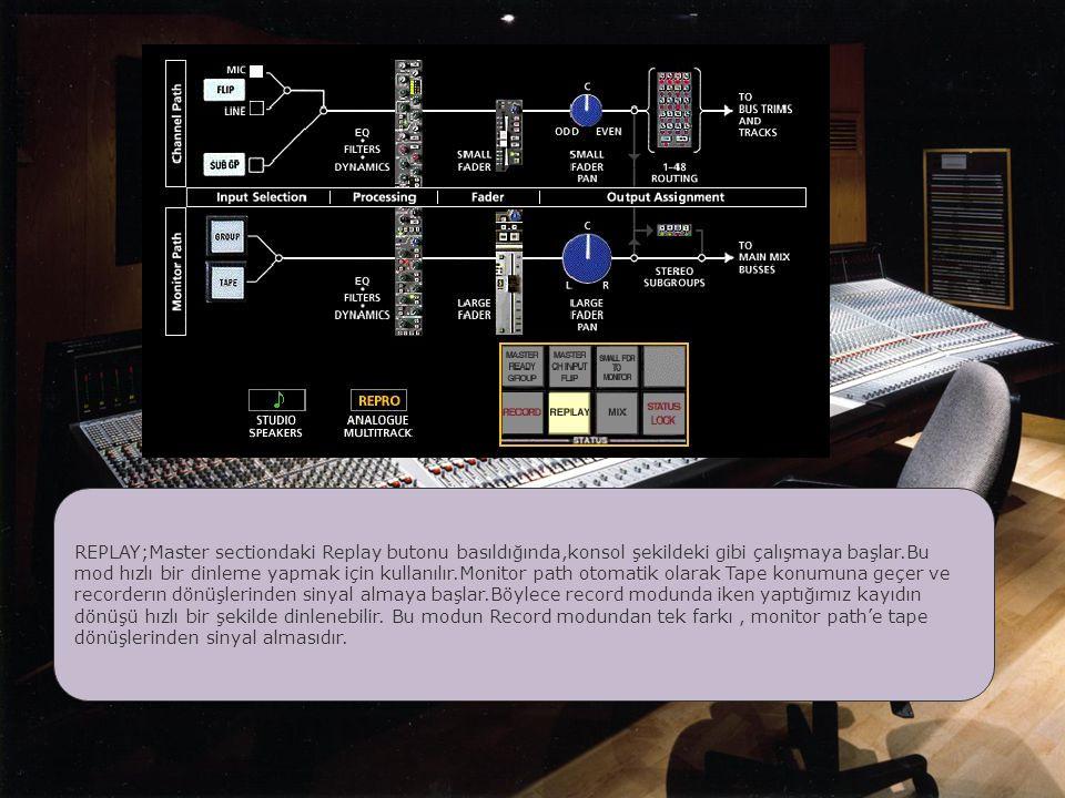 REPLAY;Master sectiondaki Replay butonu basıldığında,konsol şekildeki gibi çalışmaya başlar.Bu mod hızlı bir dinleme yapmak için kullanılır.Monitor path otomatik olarak Tape konumuna geçer ve recorderın dönüşlerinden sinyal almaya başlar.Böylece record modunda iken yaptığımız kayıdın dönüşü hızlı bir şekilde dinlenebilir.
