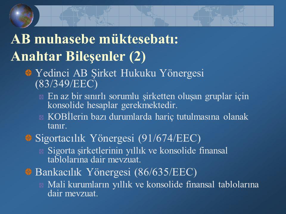 AB muhasebe müktesebatı: Anahtar Bileşenler (2)