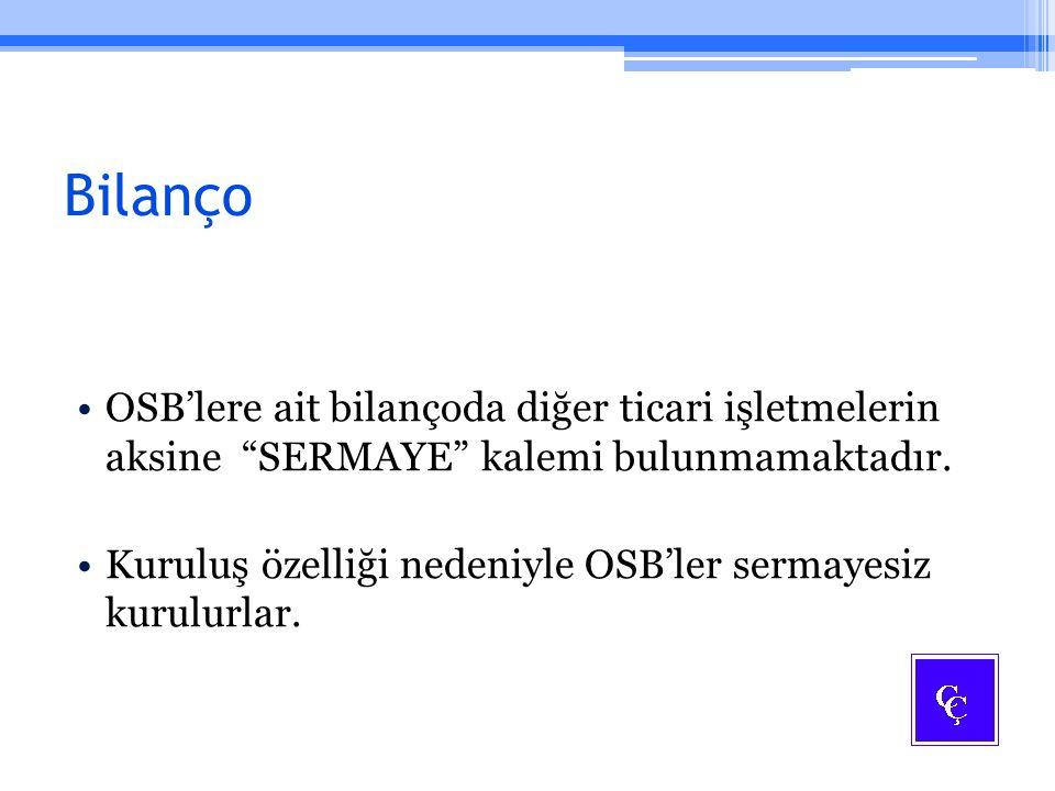 Bilanço OSB'lere ait bilançoda diğer ticari işletmelerin aksine SERMAYE kalemi bulunmamaktadır.