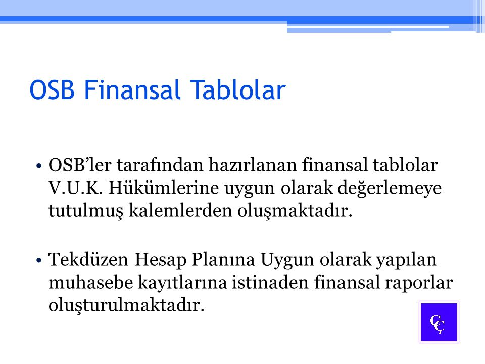 OSB Finansal Tablolar
