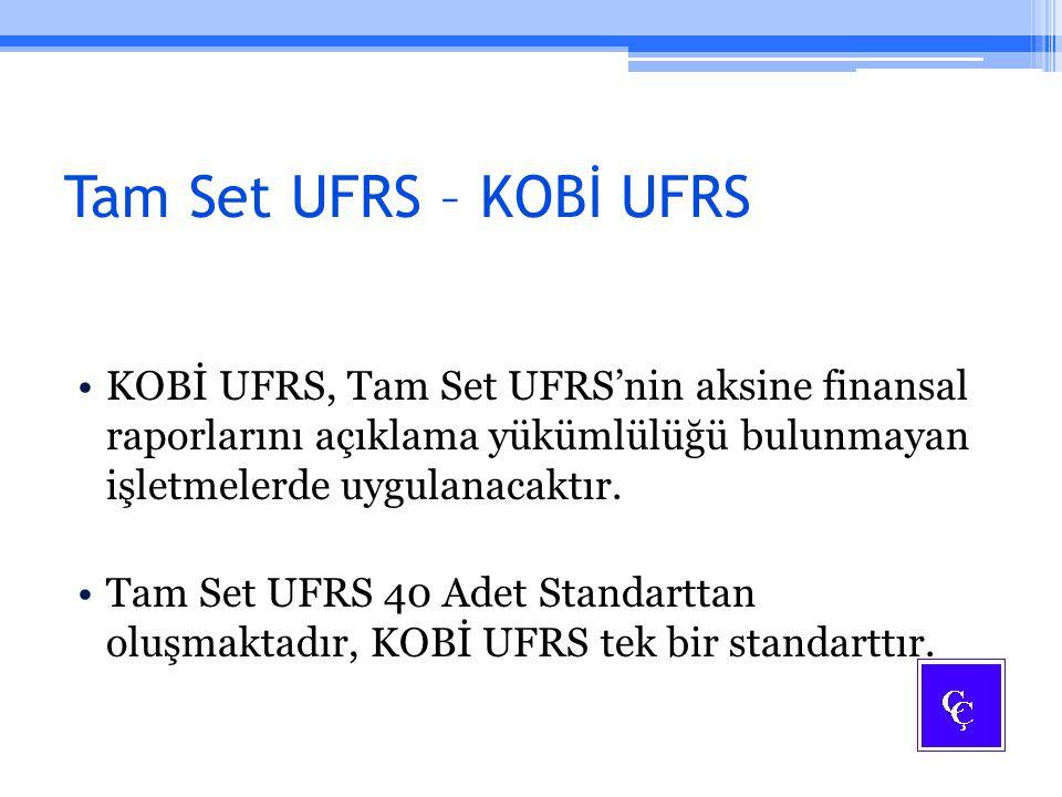 Tam Set UFRS – KOBİ UFRS KOBİ UFRS, Tam Set UFRS'nin aksine finansal raporlarını açıklama yükümlülüğü bulunmayan işletmelerde uygulanacaktır.