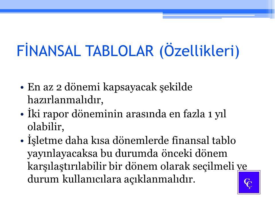 FİNANSAL TABLOLAR (Özellikleri)