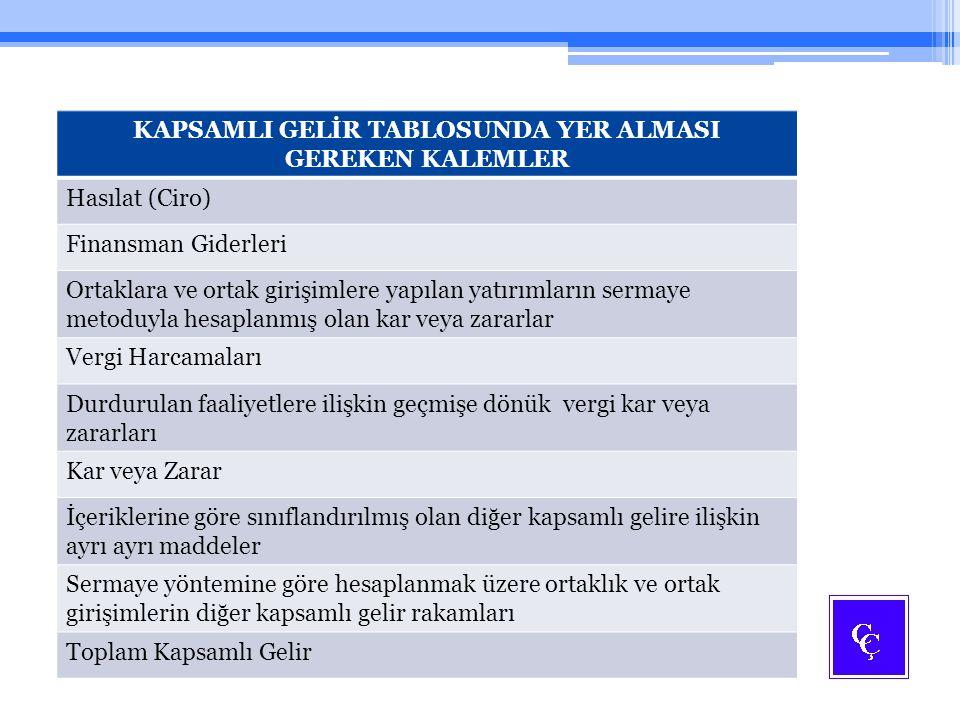 KAPSAMLI GELİR TABLOSUNDA YER ALMASI GEREKEN KALEMLER