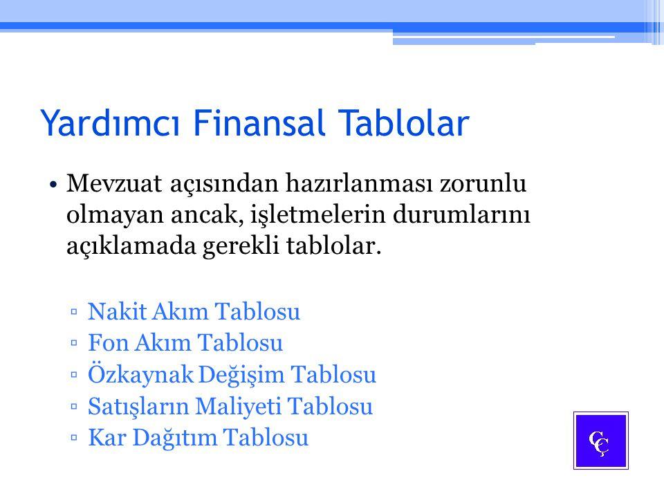 Yardımcı Finansal Tablolar