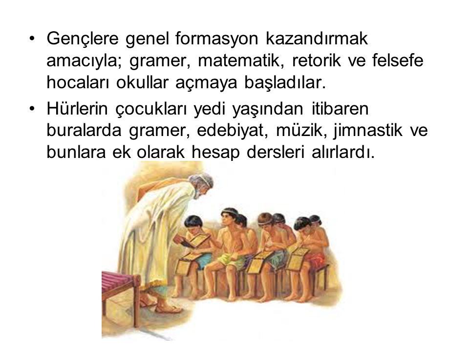Gençlere genel formasyon kazandırmak amacıyla; gramer, matematik, retorik ve felsefe hocaları okullar açmaya başladılar.