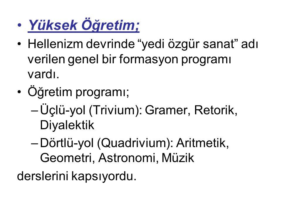 Yüksek Öğretim; Hellenizm devrinde yedi özgür sanat adı verilen genel bir formasyon programı vardı.