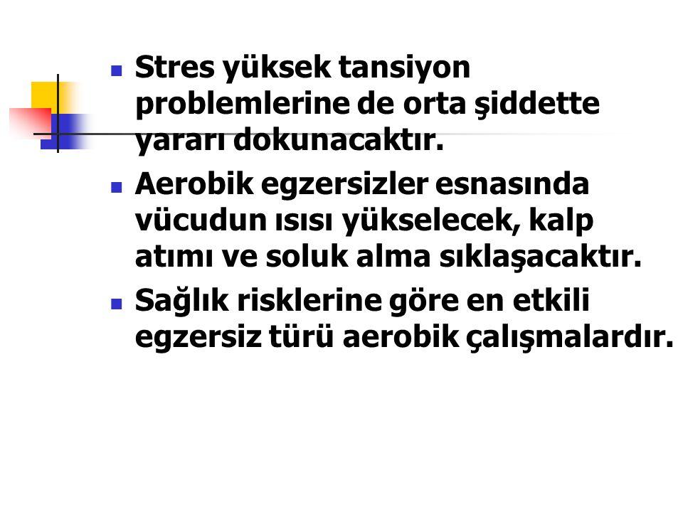 Stres yüksek tansiyon problemlerine de orta şiddette yararı dokunacaktır.