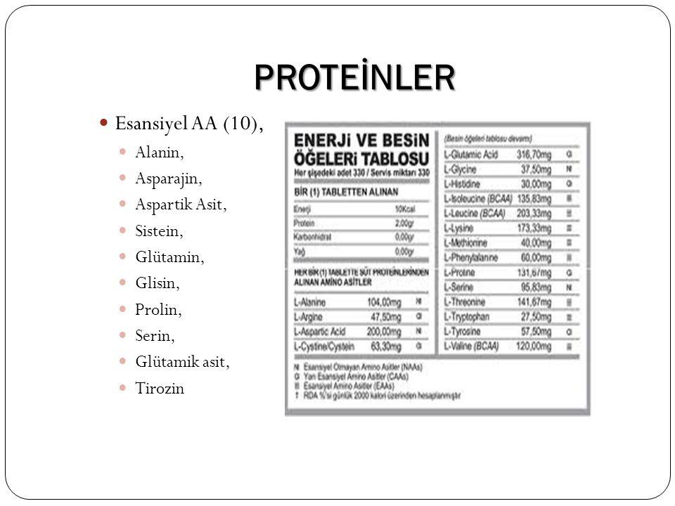 PROTEİNLER Esansiyel AA (10), Alanin, Asparajin, Aspartik Asit,