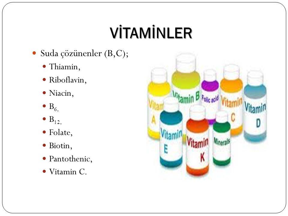 VİTAMİNLER Suda çözünenler (B,C); Thiamin, Riboflavin, Niacin, B6,
