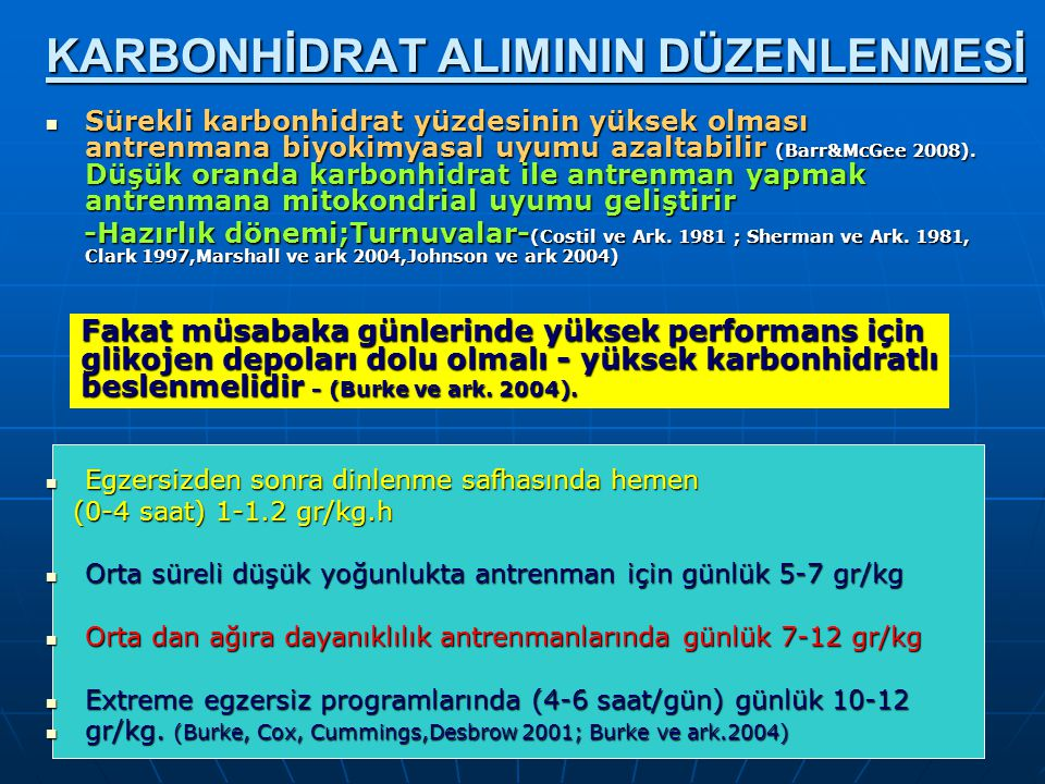 KARBONHİDRAT ALIMININ DÜZENLENMESİ
