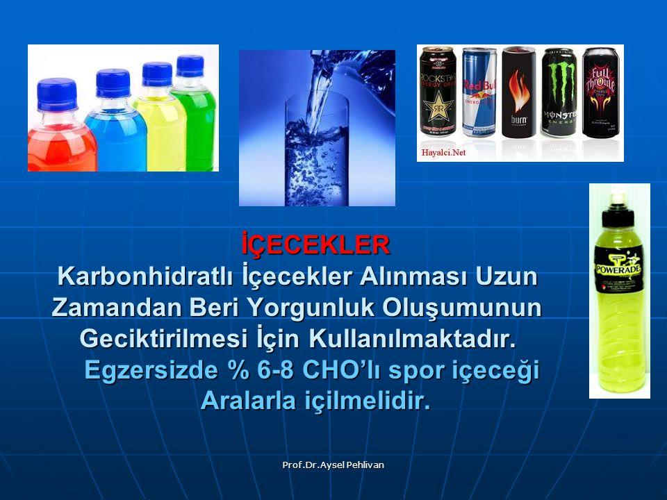 İÇECEKLER Karbonhidratlı İçecekler Alınması Uzun Zamandan Beri Yorgunluk Oluşumunun Geciktirilmesi İçin Kullanılmaktadır. Egzersizde % 6-8 CHO'lı spor içeceği Aralarla içilmelidir.