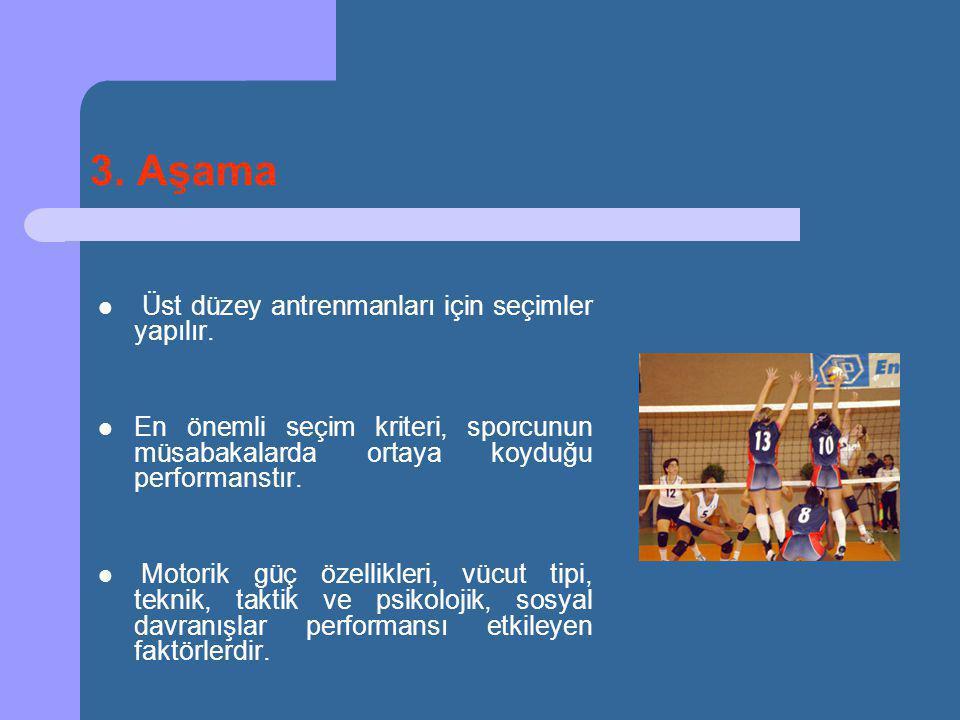 3. Aşama Üst düzey antrenmanları için seçimler yapılır.